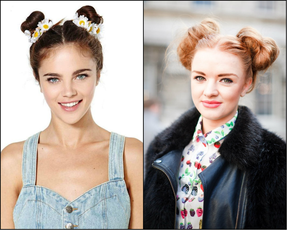 back-to-school double bun hairstyles