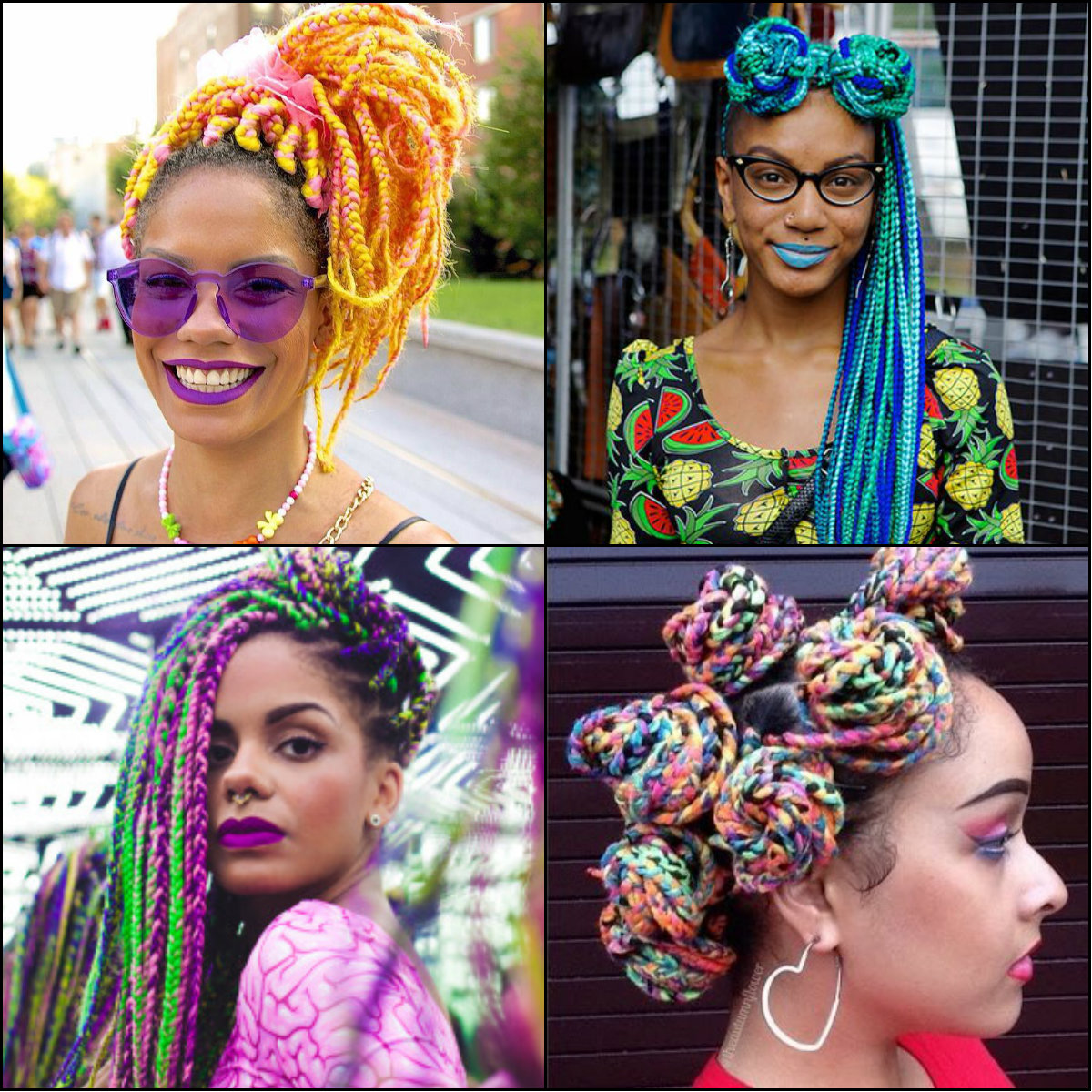 best multi colored rainbow box braids for black women 2017