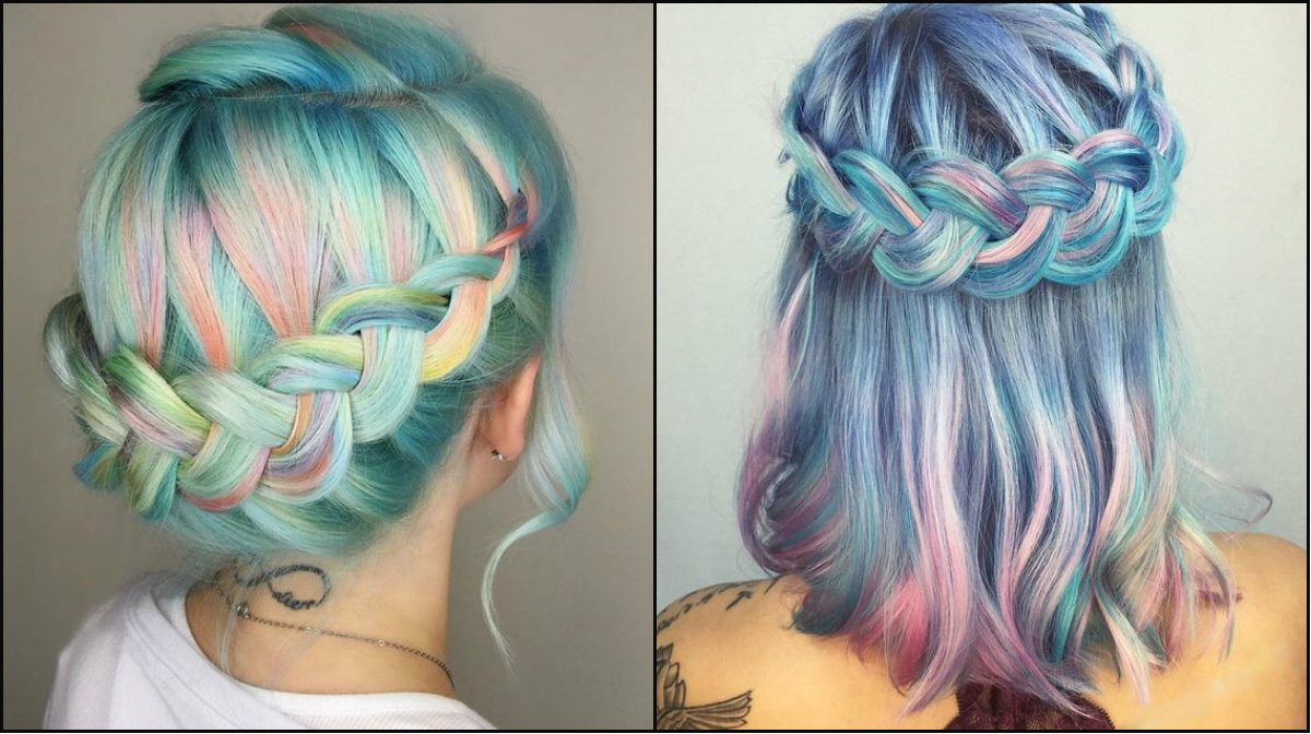 blue pastel hair colors and crown braids