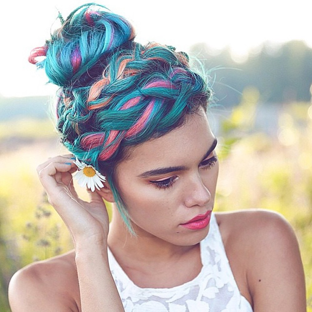 braided bun hairstyles on pastel blue color hair