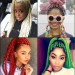 Black Women Colourful Box Braids Hairstyles 2017