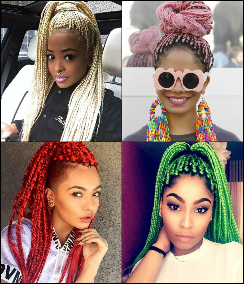 colorful black women box braids hairstyels 2017