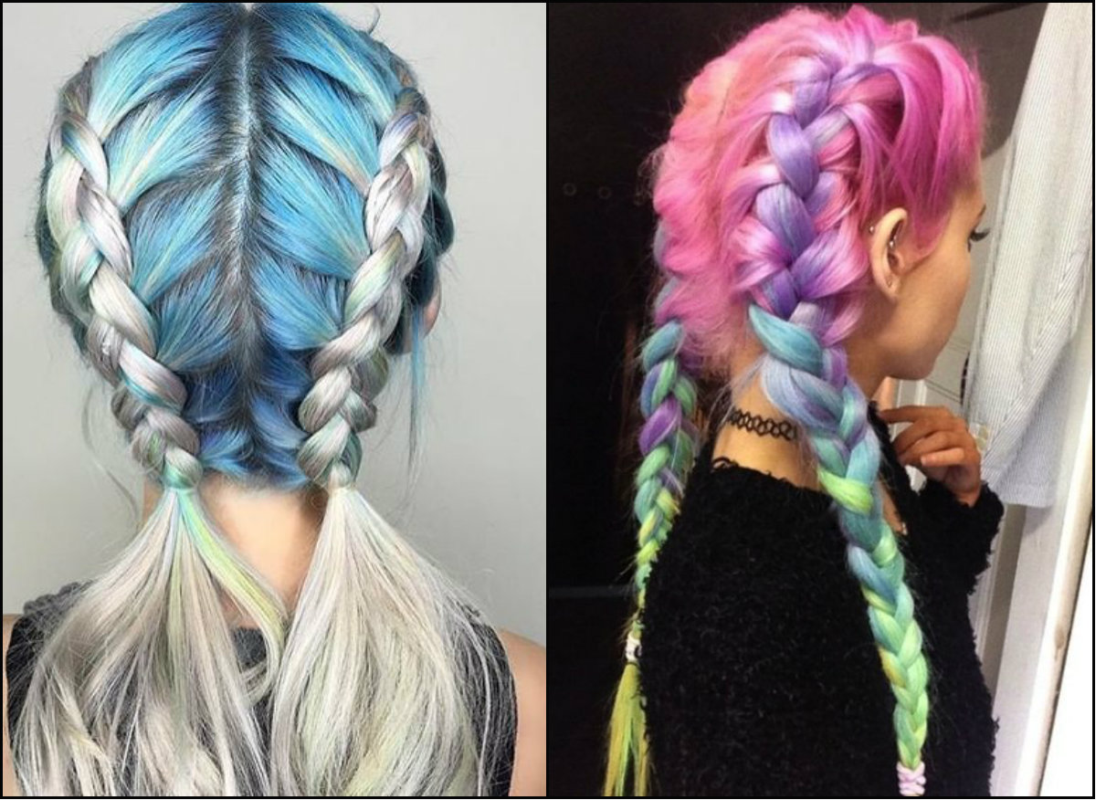 double braids hairstyles on pastel hair 2017