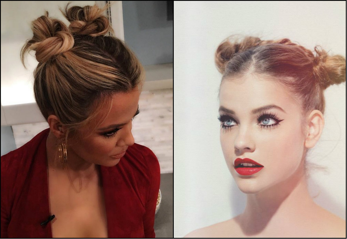 double bun hairstyles for school
