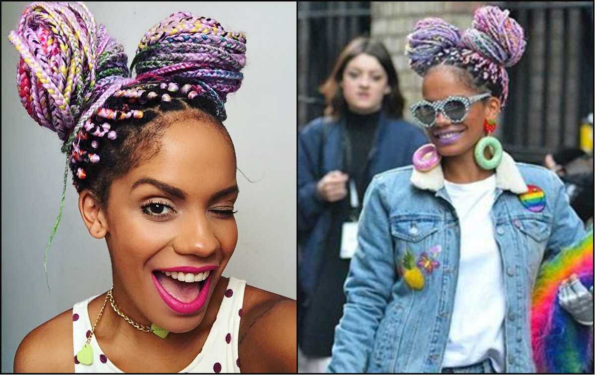 Hairstyles Braids With Color: Multi Colored Rainbow Box Braids You Will Be Impressed