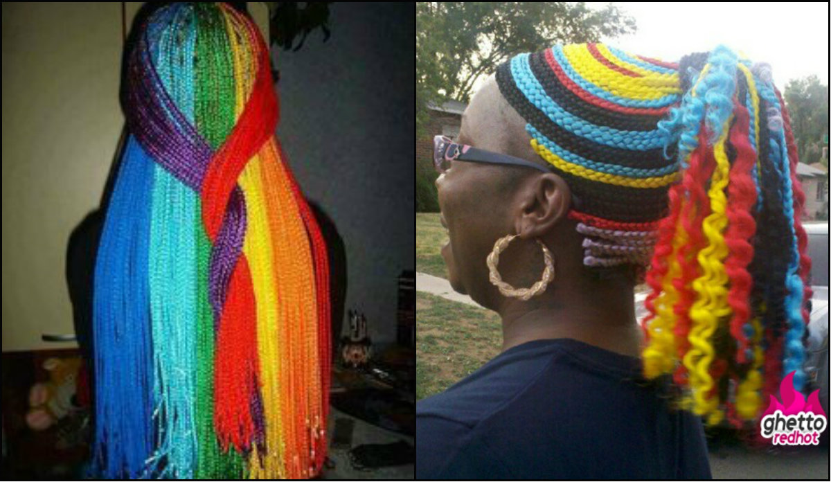 extra bright multi colored box braids
