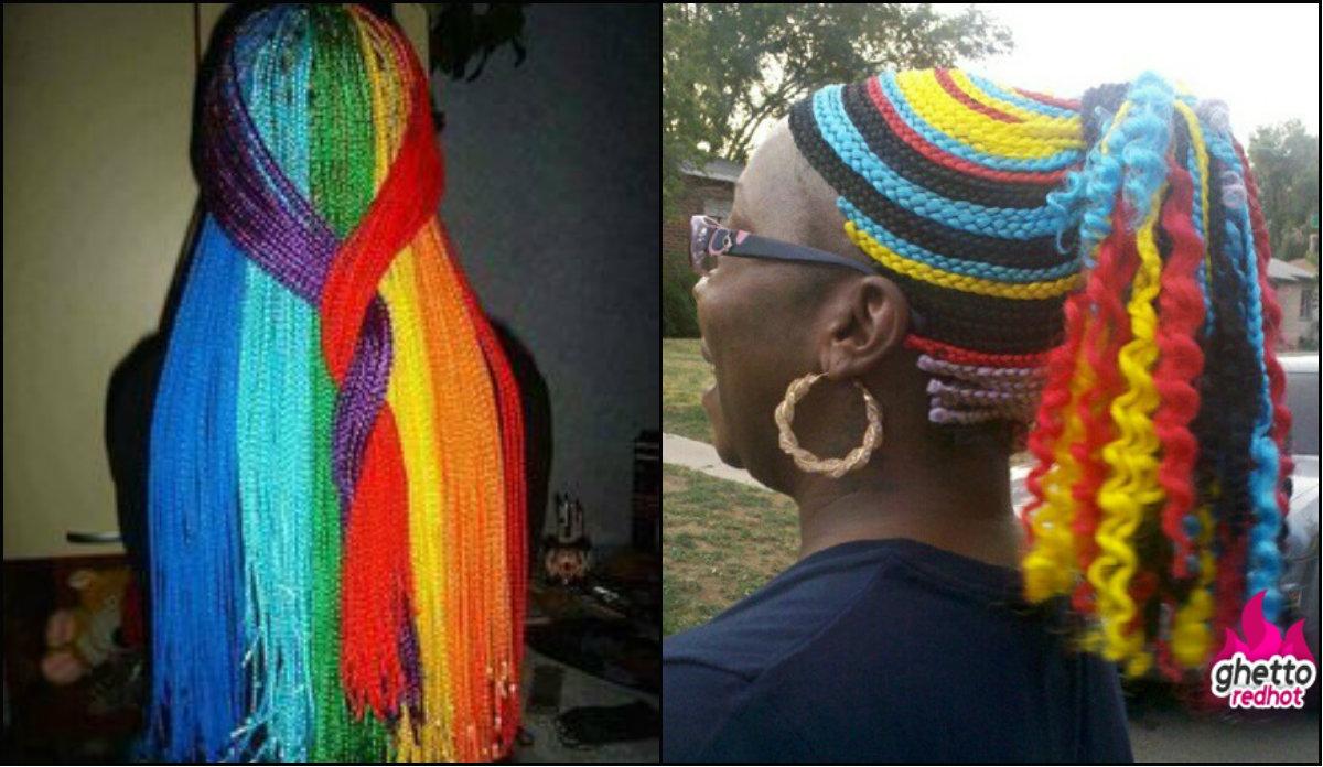 extra bright multi colored box braids
