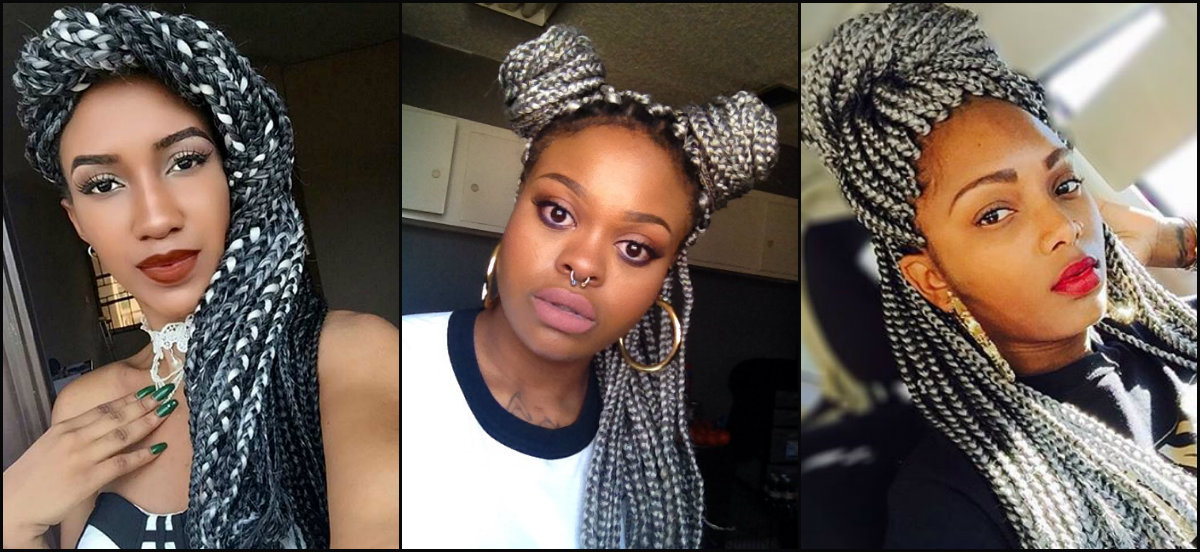 grey box braids hairstyles
