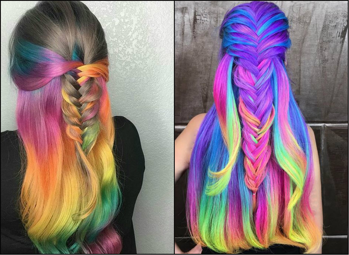 half updo hairstyles on peacock hair colors