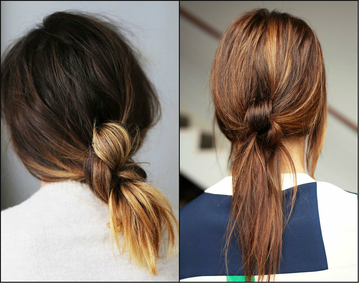 knotted ponytails for office