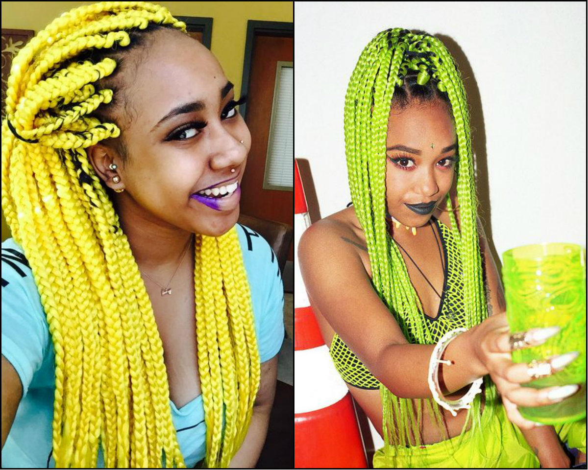 lemon yellow box braids hairstyles