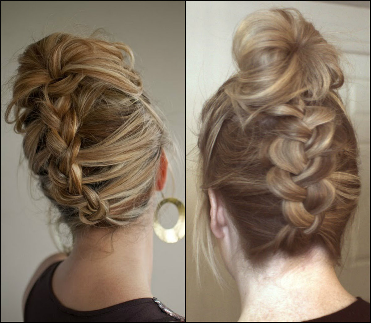 messy reverse braided bun