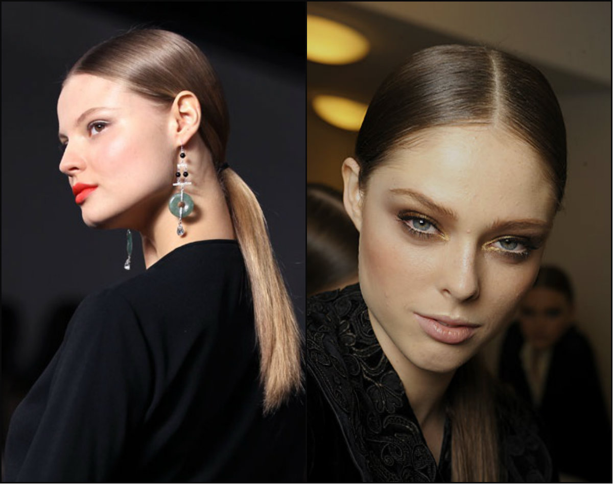 middle part low ponytails for work 2017