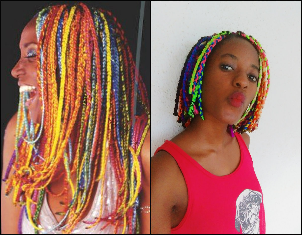 multi color rainbow box braids