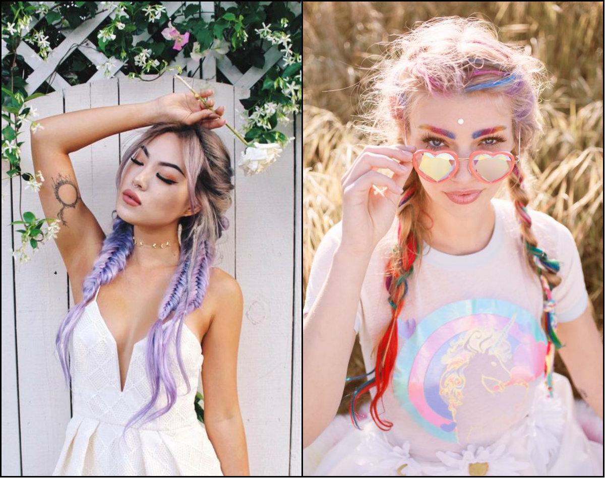 pastel hair colors and pigtail braids