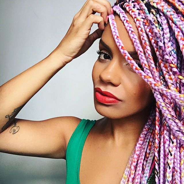 pastel rainbow black women box braids