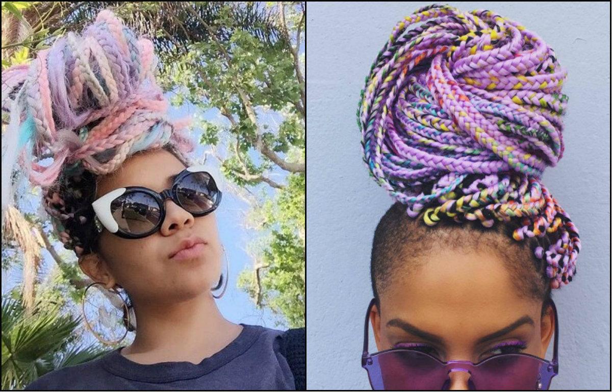pastel rainbow colored black women box braids
