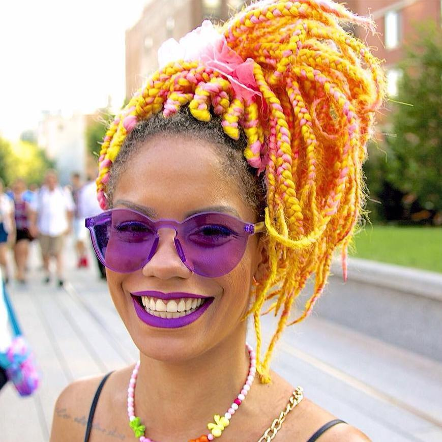 pink and orange multi colored box braids for black women