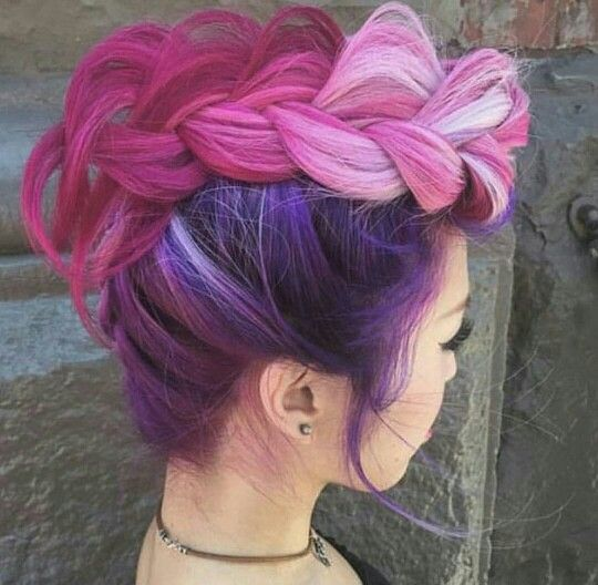 pink hair and Mohawk braids