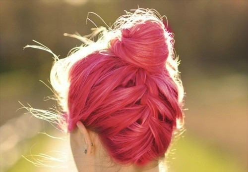 reverse braided bun on pink hair