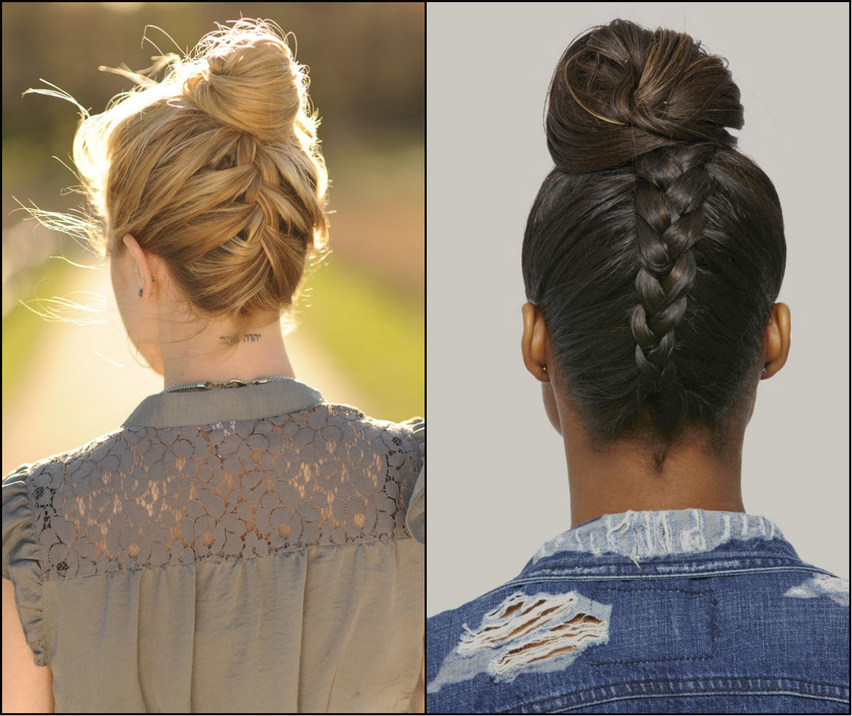 reverse braids bun hair