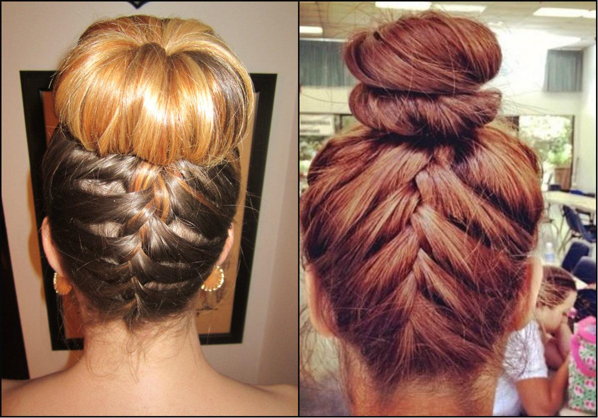reverse braids bun hairstyles