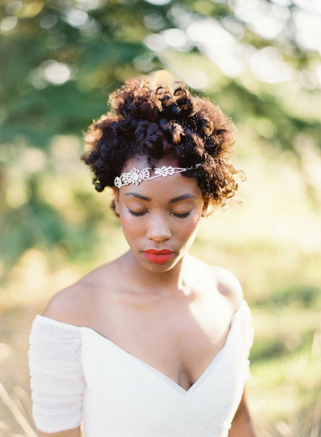 short curly afro for black women wedding