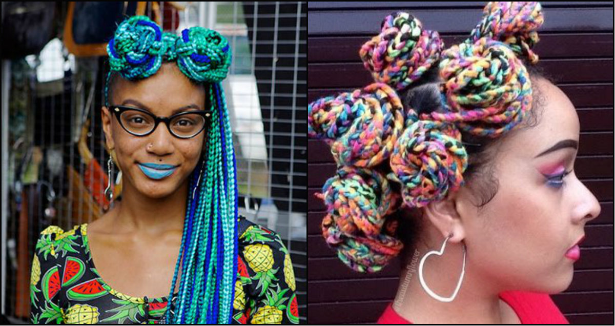 top knots out of multi colored rainbow box braids