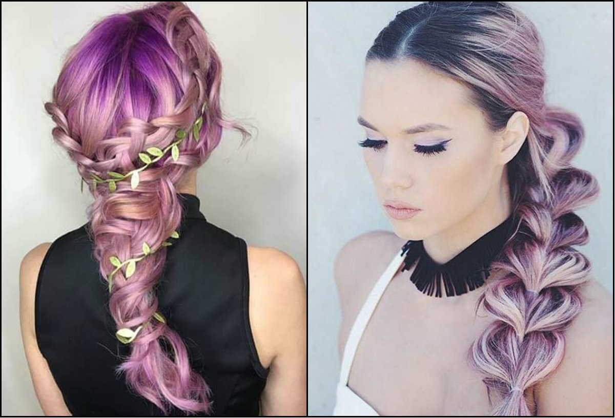 violet pastel hair colors and braids