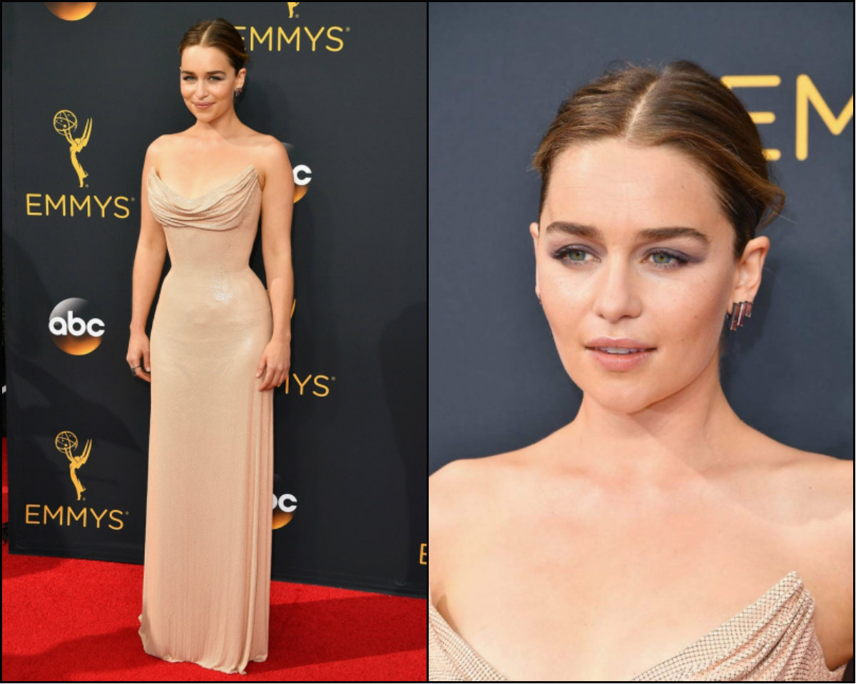emilia-clarke-middle-part-downdo-hairstyles-at-emmy-2016