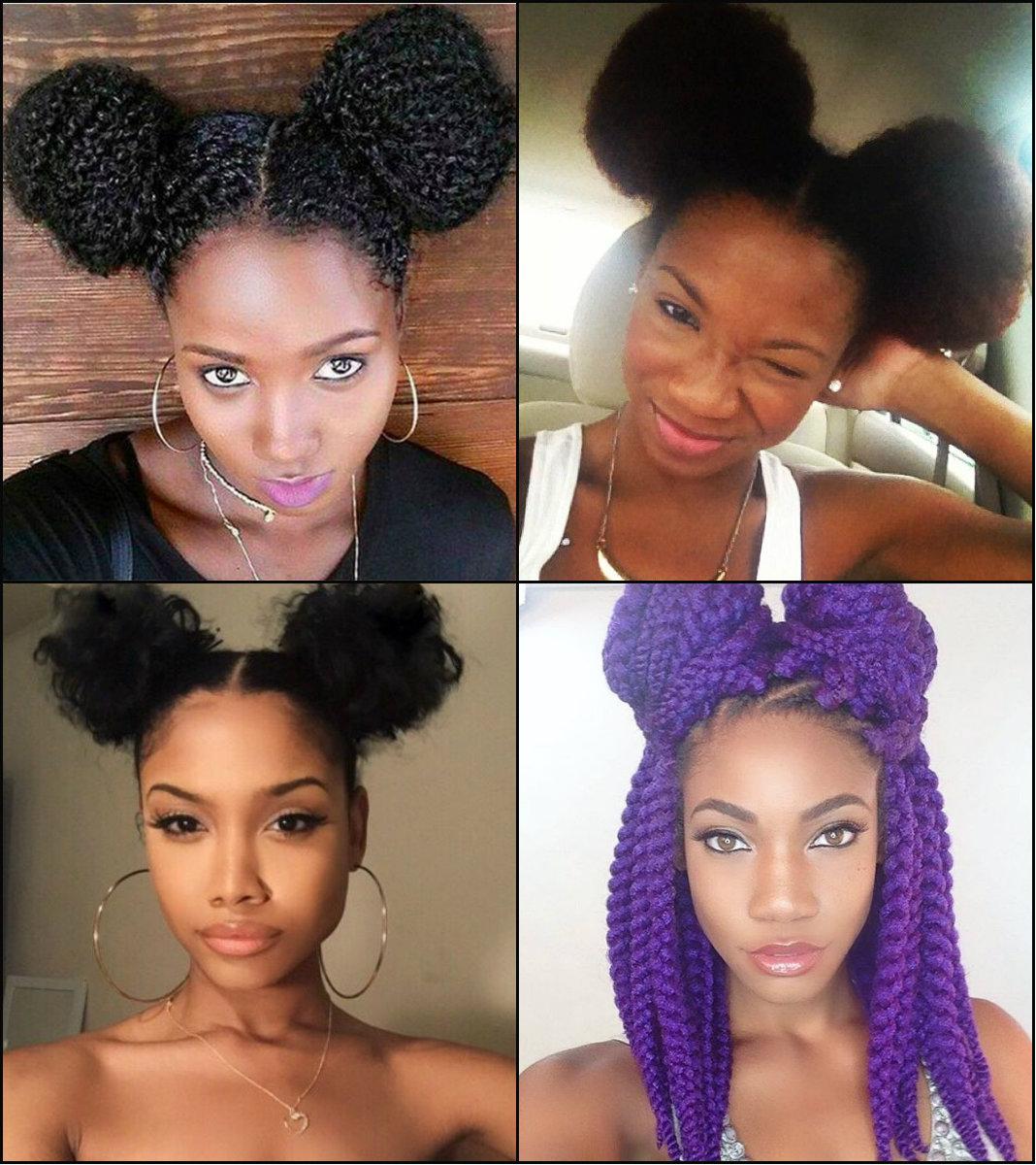 Black Women Double Bun Hairstyles For Naughty Girl Look