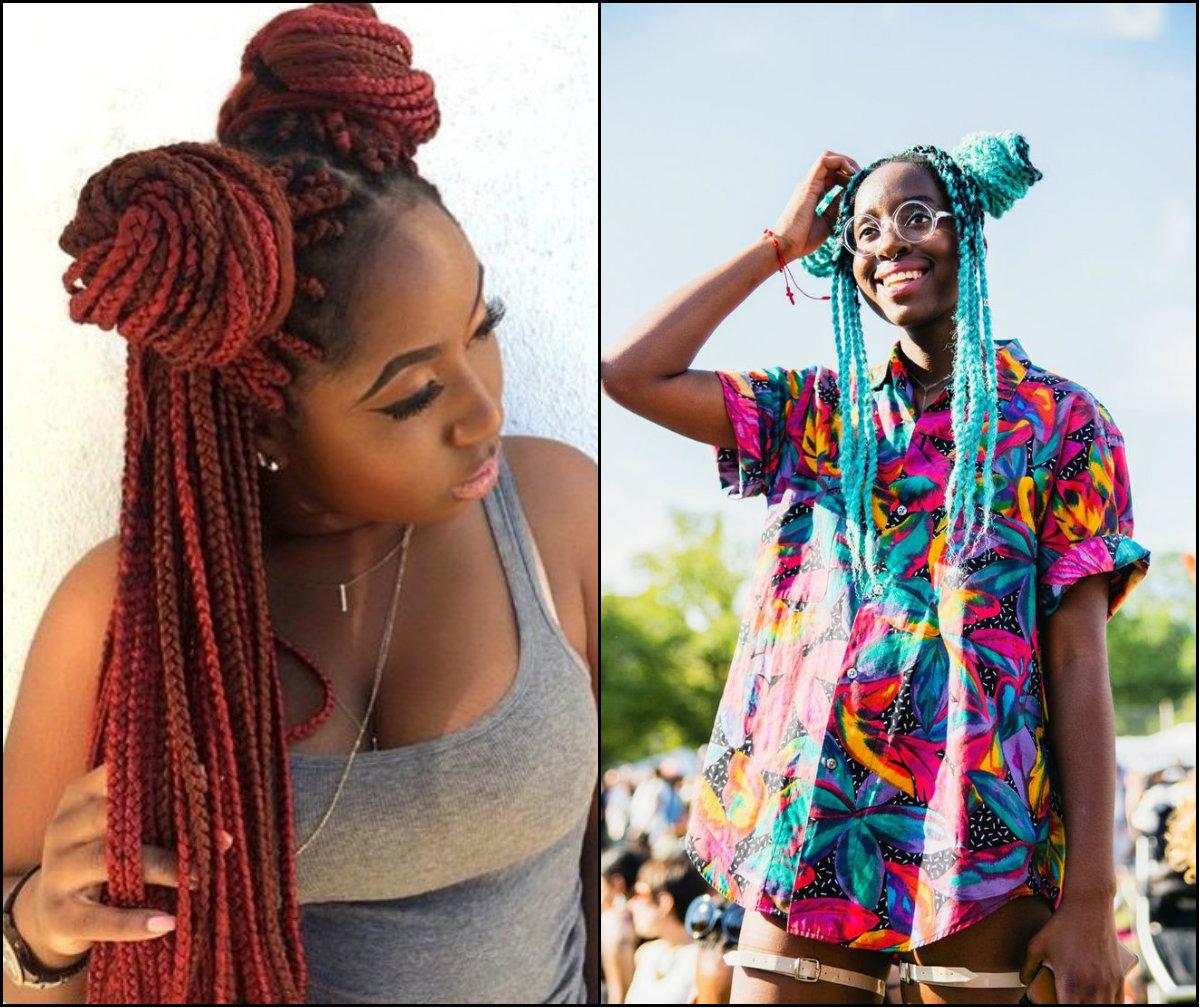 colorful-box-braids-bun-hairstyles-for-black-women