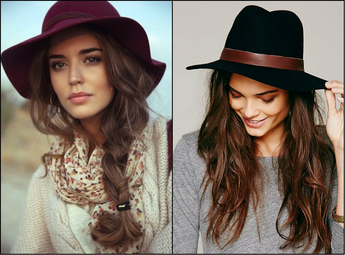 fall 2016 long hairstyles and hats
