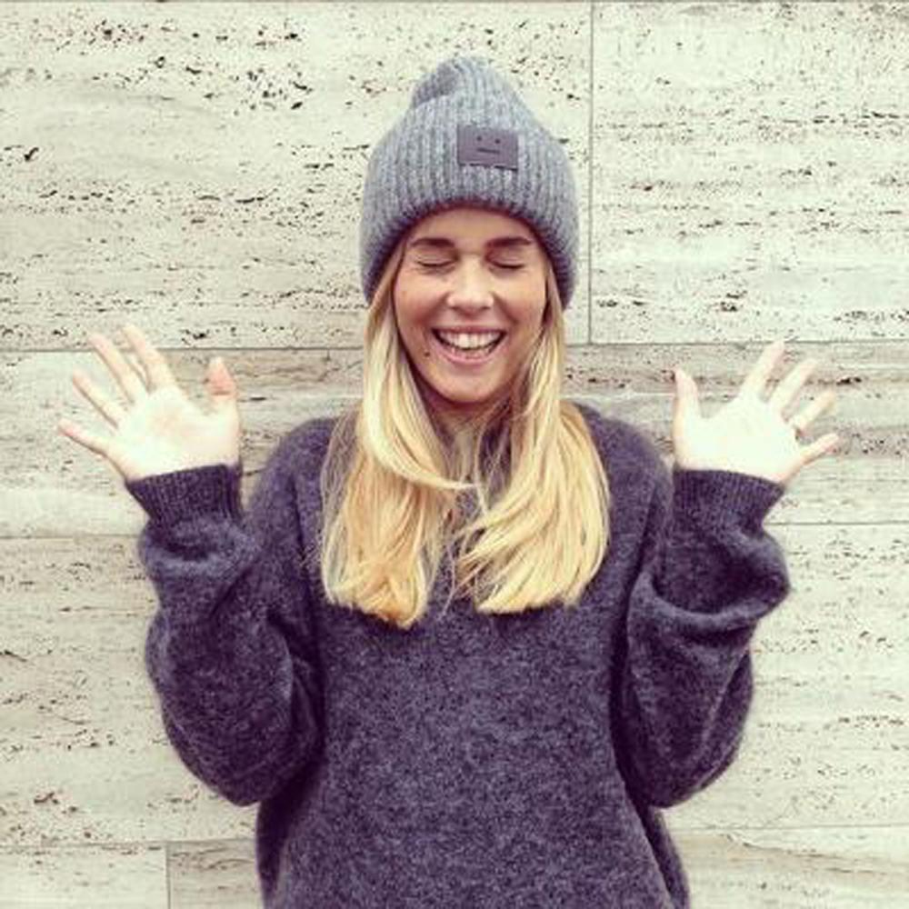 warm knitted hats for long hairstyles