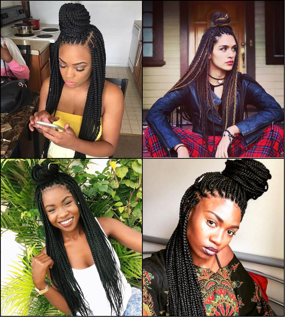 Half Up Half Down Box Braids Bun Hairstyles