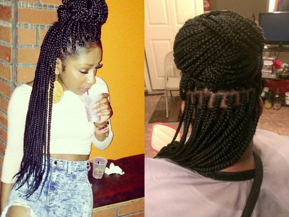 Fine Half Up Half Down Box Braids Bun Hairstyles Pretty Hairstyles Com Short Hairstyles For Black Women Fulllsitofus
