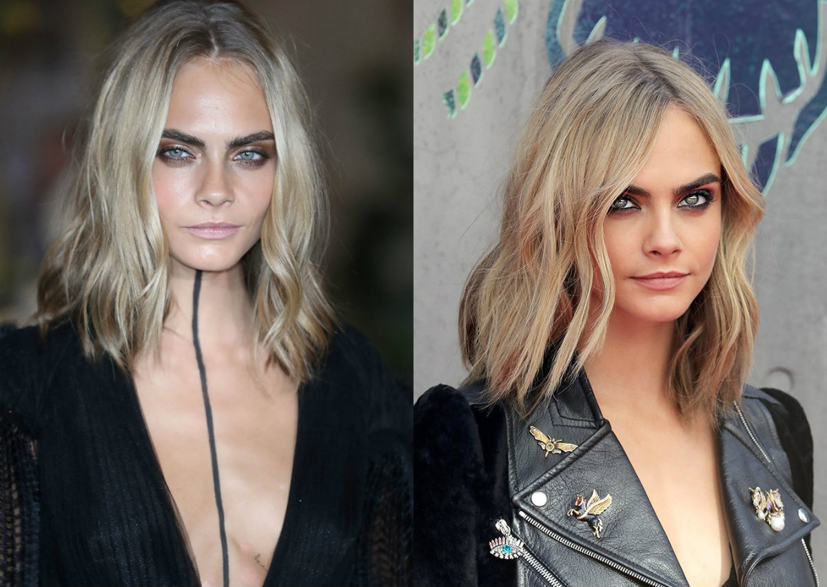 Cara Delevingne middle part bob hairstyles 2017 spring