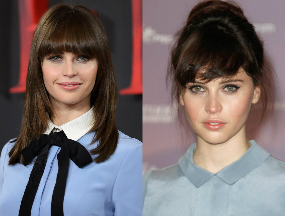 Felicity Jones bangs hairstyles 2017 spring