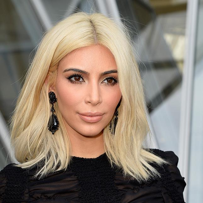 Kim Kardashian blonde lob hairstyles
