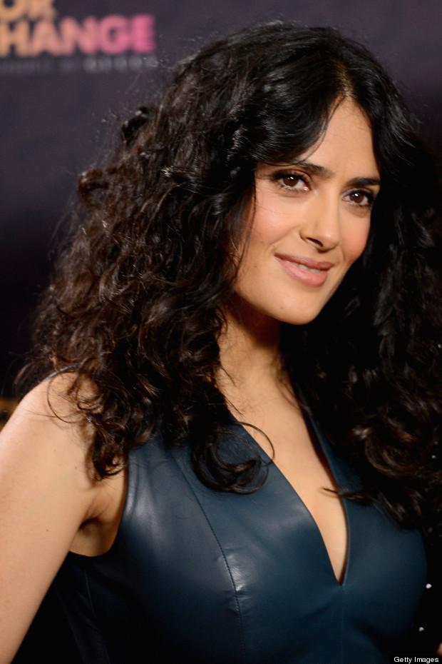 Salma Hayek curly hairstyles 2017