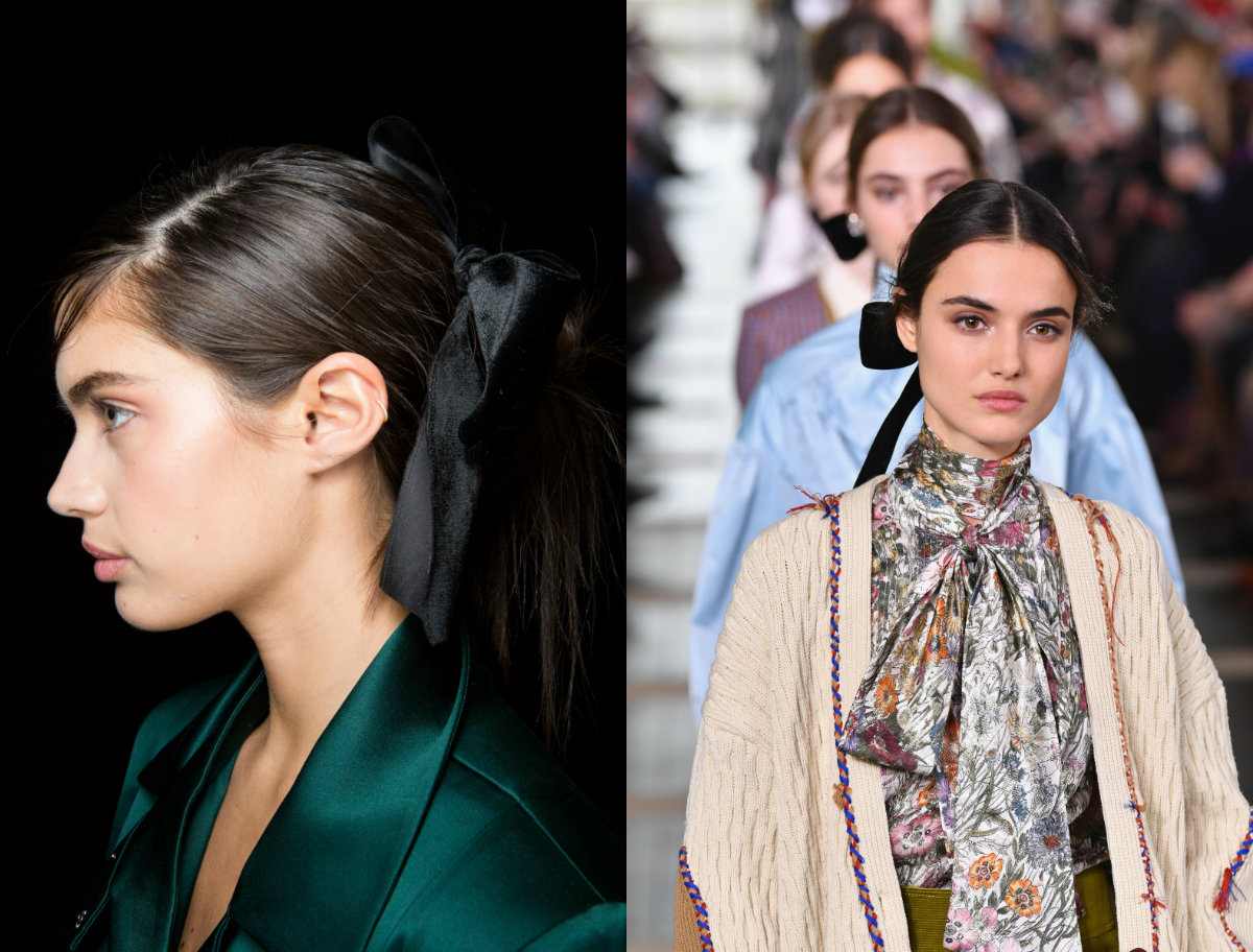 #3 velvet ribbons and low ponytail hair trends 2018. Tory Burch black  ribbon hair accessories and hairstyles 2018