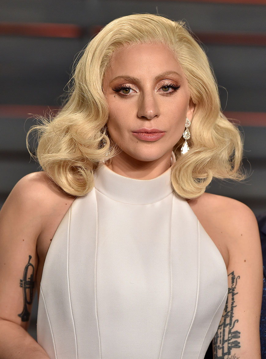 Lady Gaga bleached creamy blonde hair color