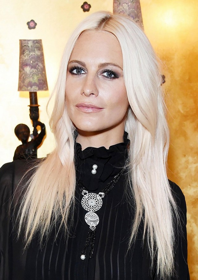 Poppy Delevingne creamy platinum blonde hair