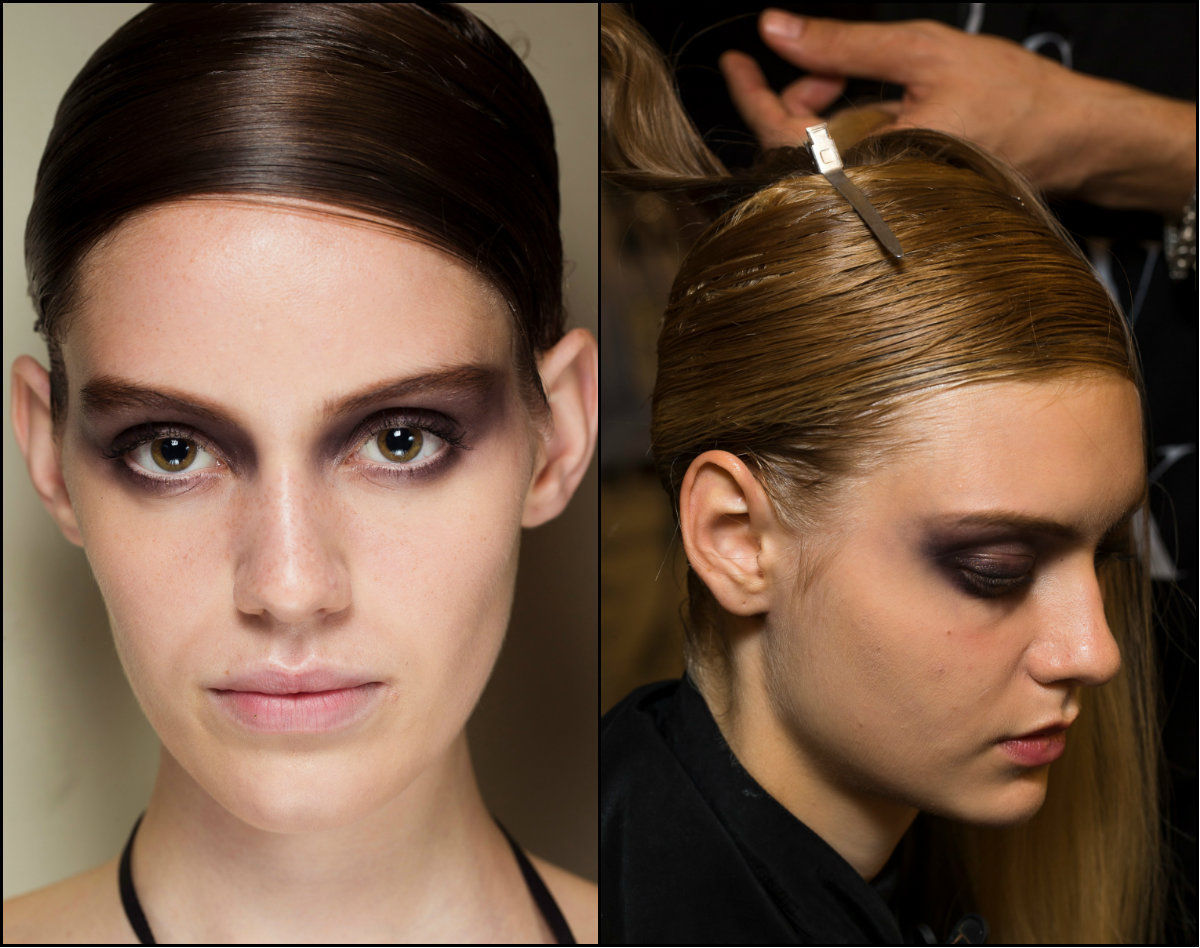 Armani Prive deep side part hairstyles 2017 Fall Couture Week