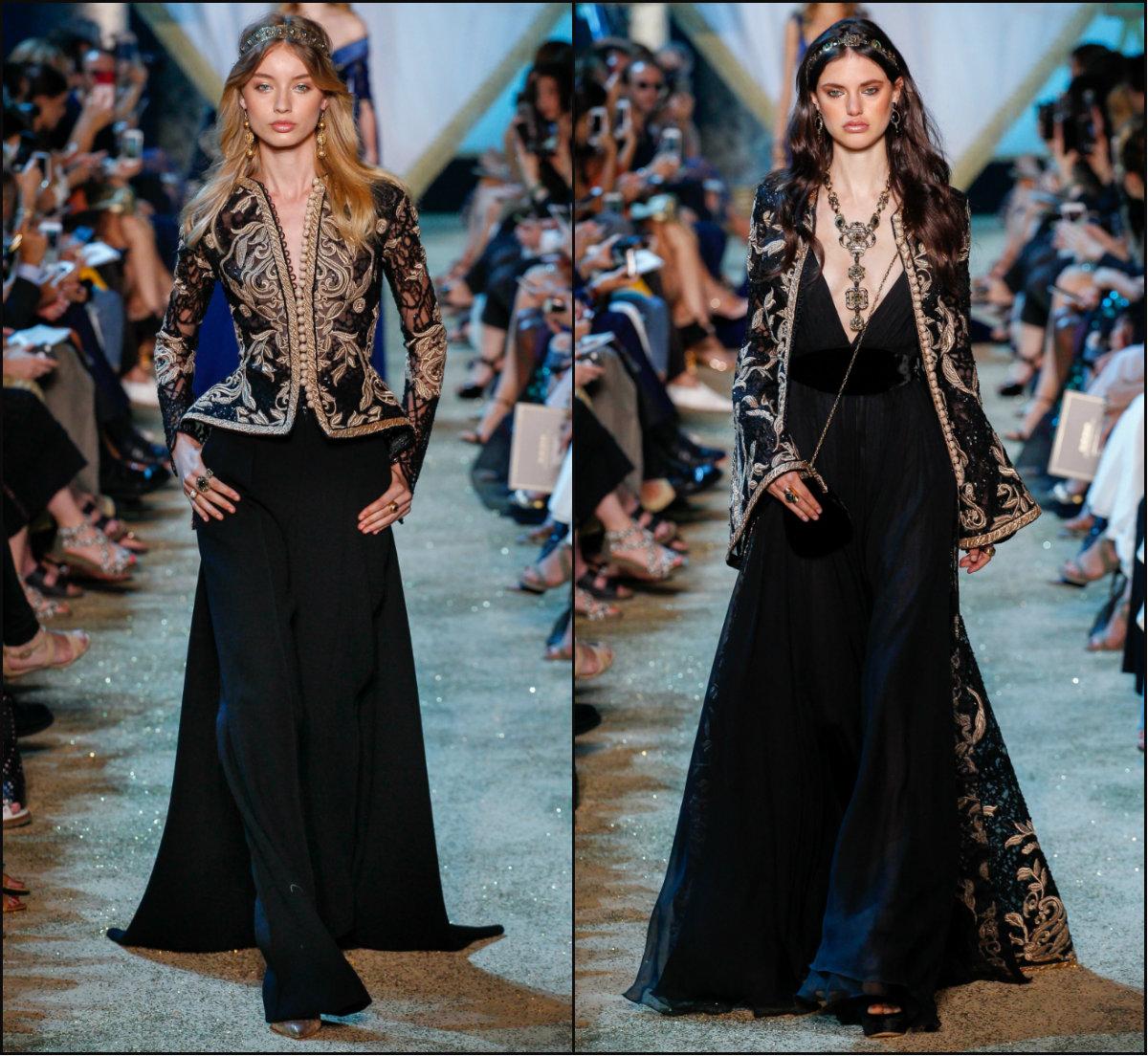 Elie Saab wavy mid part hairstyles 2017 Fall Couture Week