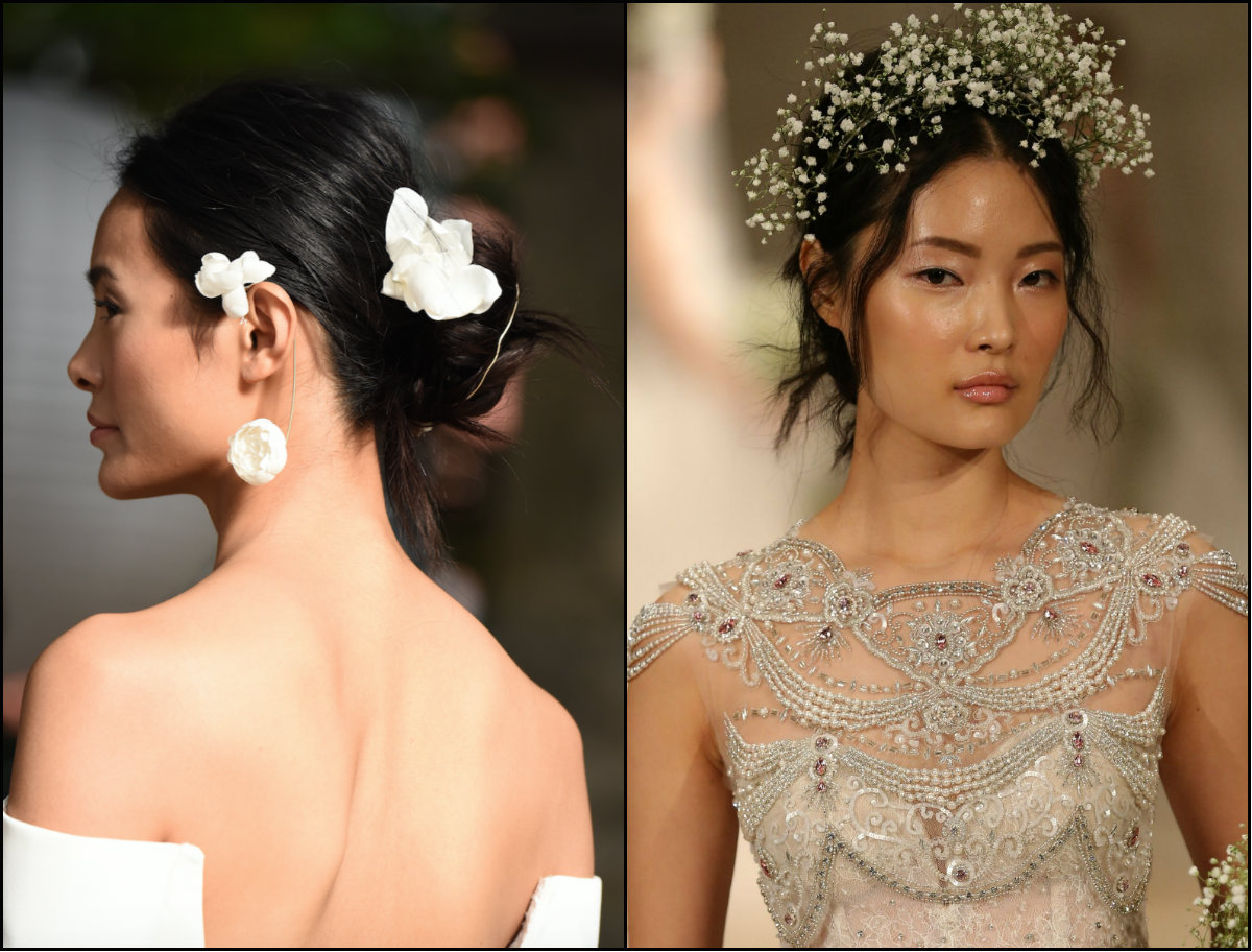 Reem Acra flower hair accessories for wedding 2018