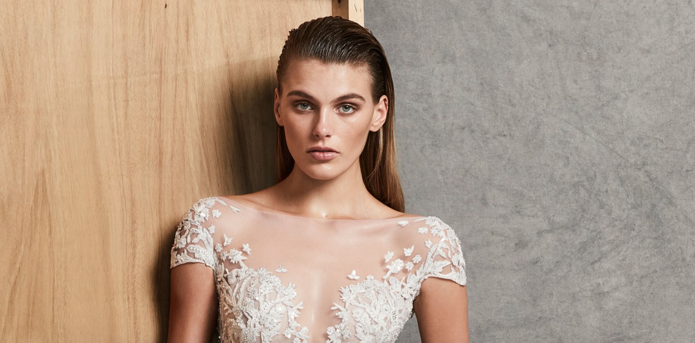 Zuhair Murad slicked back wedding hairstyles 2018
